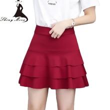 SHINYMORA Summer Short Skirts for Women 2017 New Fashion Cotton Skirt High Waist Elastic Anti-light Skater Skirts Ladies Bottoms