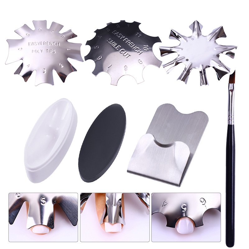 French Dip Nail Container Powder Dipping Tray Nail Tips Mold Guides Manicure Nail Art Tool Tips Brush Easy French Cutter Sticker lightstar 752084 md7602 8а люстра acquario 8х40w g9 хром бел стекло шт