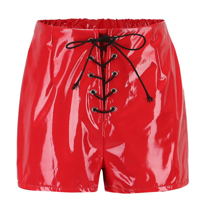 Female Sexy Bandage Mini Women Slim   Shorts   Pu Leather   Shorts   Women Lace Up Red Black High Waist   Shorts