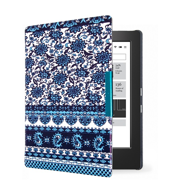 Ultra thin protective PU leather cover skin ultra thin cover case for 2014 kobo aura h2o 6.8'' ereader smart cover case стоимость