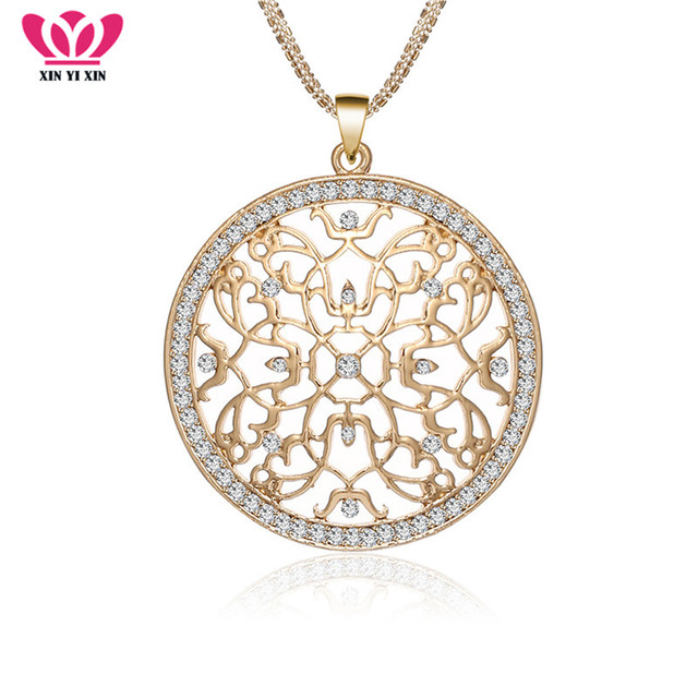 380af5d9ca Flower of Life Crystal Big Gold Necklaces & Pendants Women Long Chains Round  Hollow Pendant Collier Statement Jewelry 2018 Hot
