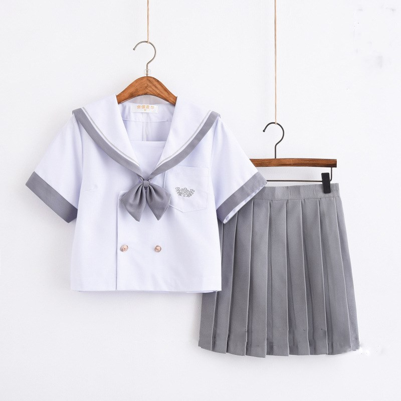 2019 New Arrival School Girls Uniform Jk Navy Sailor Suit For Women Japanese School Uniform White Top+Gray Skirt
