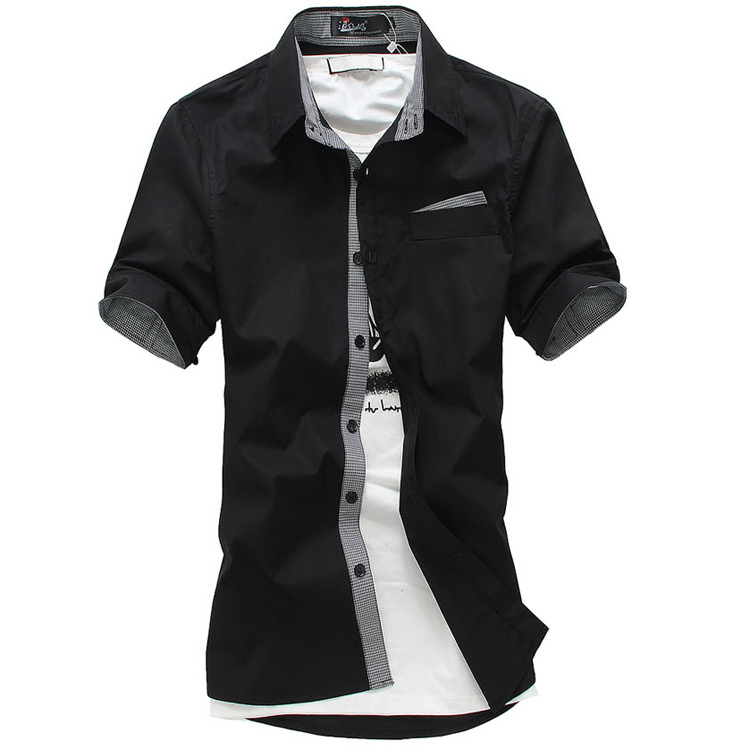 XXXL 4xl 5xl 6xl 7xl 8xl men shirt shirts mens dress brand clothes slim fit denim men's clothing BLACK - Online Store 226431 store