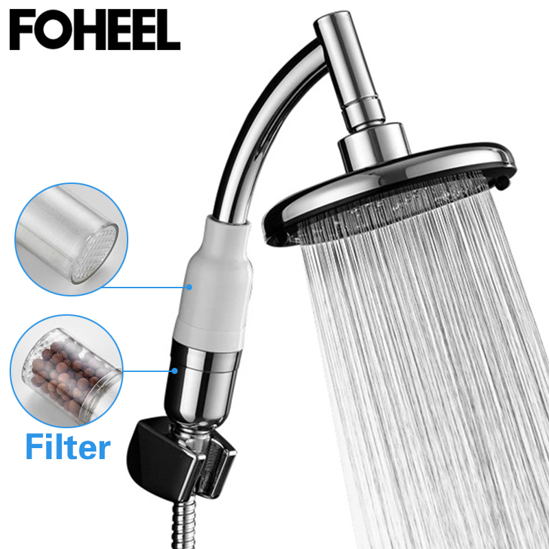 FOHEEL Water Filter Shower Head Hand Shower High Pressure Shower Head Water Saving Bathroom Spa Rain Free Rotation Shower Head