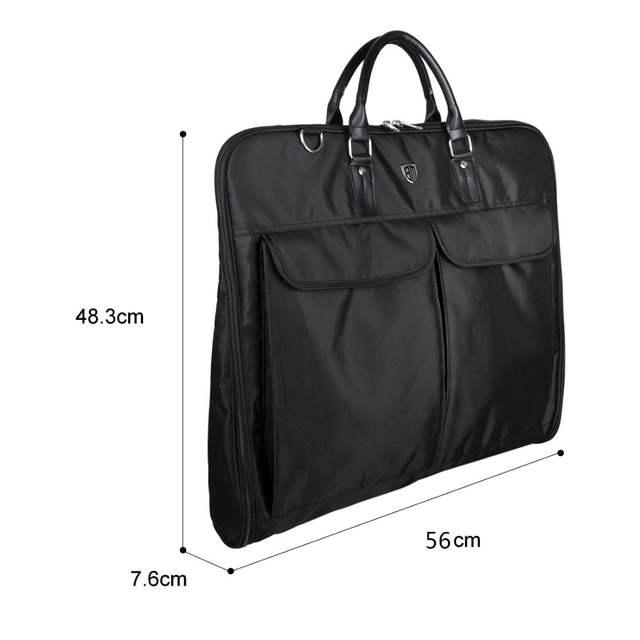 b7d8b39a21 BAGSMART Black Nylon Business Dress Garment Bag With Handle Clamp  Waterproof Suit Bag Men s Garment Suit