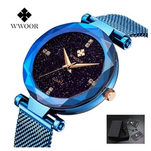 WWOOR Watches Women Stainless Steel Bracelet Quartz Bracelet Luxury Ladies Watch Dress Wristwatches Blue Clock Montre Femme 2019 belbi brand fashion women stainless steel bracelet wristwatches ladies dress watches clock casual quartz watch montre femme