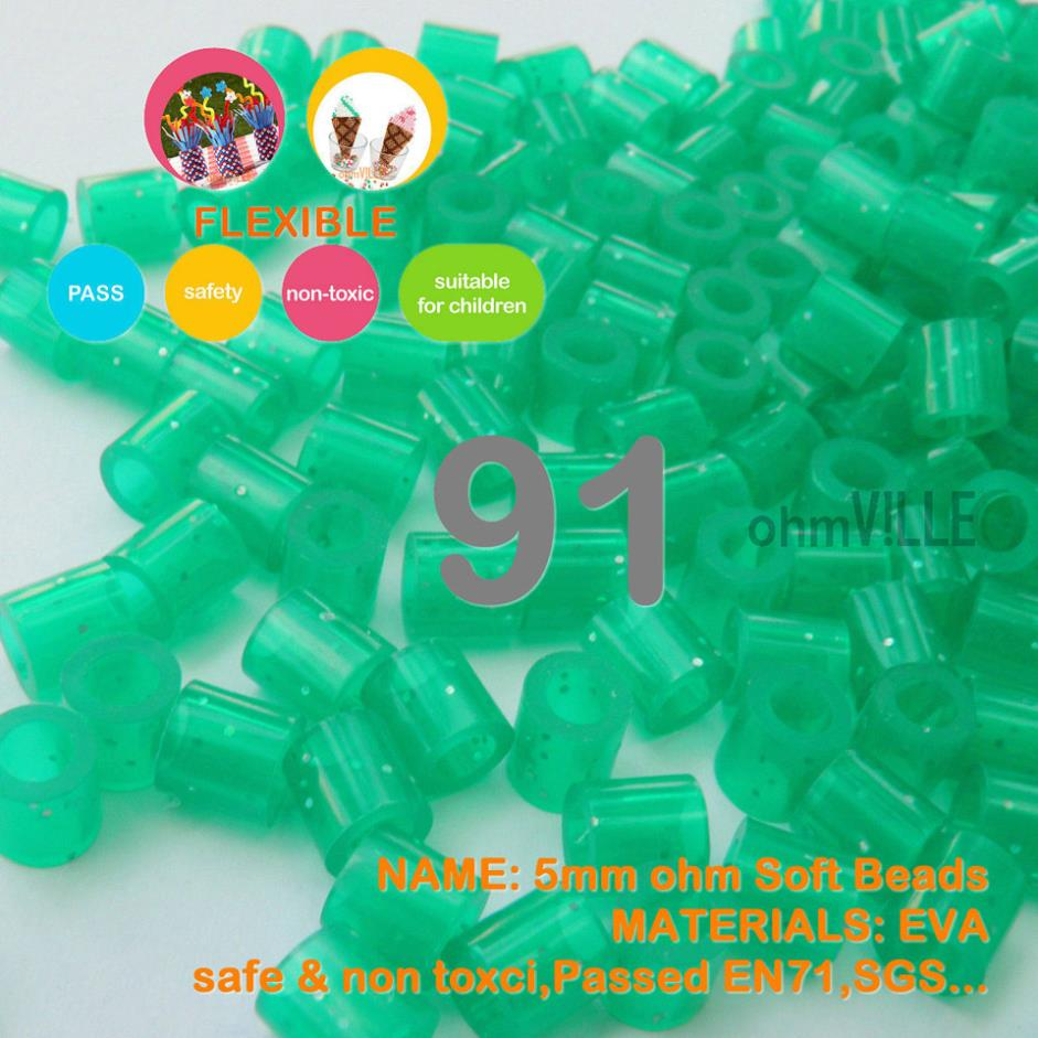 Hot Sale!!! 5mm Soft Flexible Ohm Beads ( Glitter Green Id:<font><b>91</b></font> ) 90 Colors For Choose Hama Beads Activity + Free Shipping image