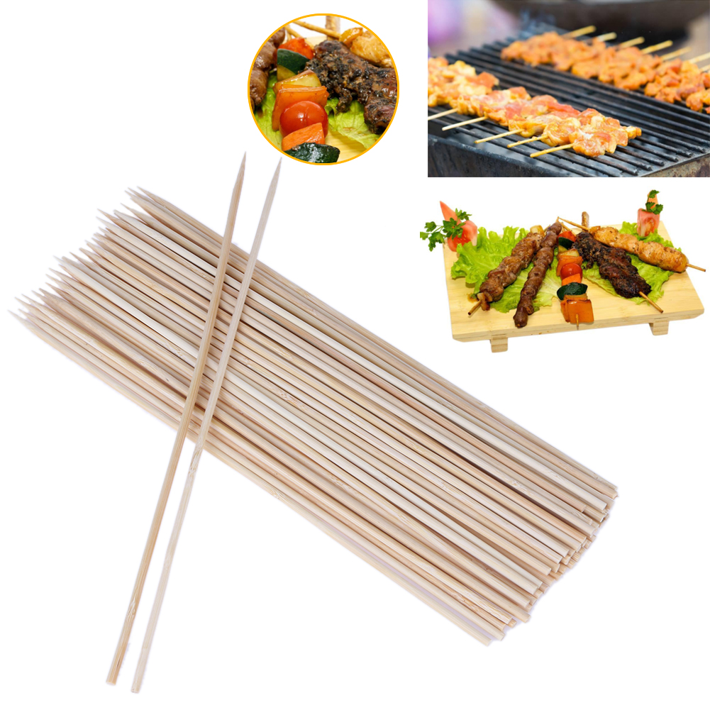 100pcs Wood BBQ Stickers 25cm/20cm Long Barbeque Skewers Kebab BBQ Sticker Outdoor Picnic Family Party Barbecue Accessories