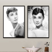 Actress Posters Audrey Hepburn Canvas Art Pictures Vintage Black White Photograph Pop Printing Paintings for Bedroom Decor