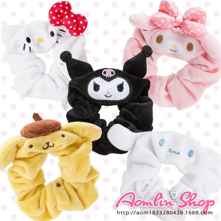 Cute Japan Cartoon Sanrio Hello Kitty Melody Little Twin Stars Plush Hair band for girls Hair accessories gift hello kitty girls big dark pink hair bow fuzzy slippers