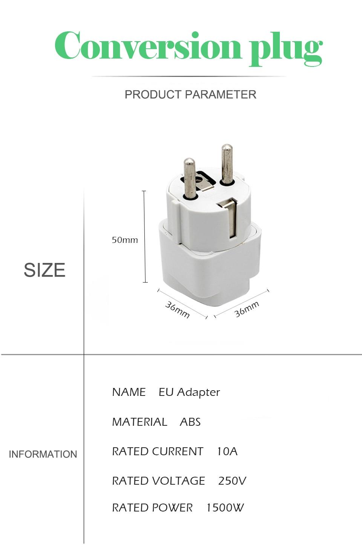 1PC European EU Plug Adapter High Quality Practical Universal US UK AU to EU Plug Travel Power Adaptor Electric Charger Sockets (8)