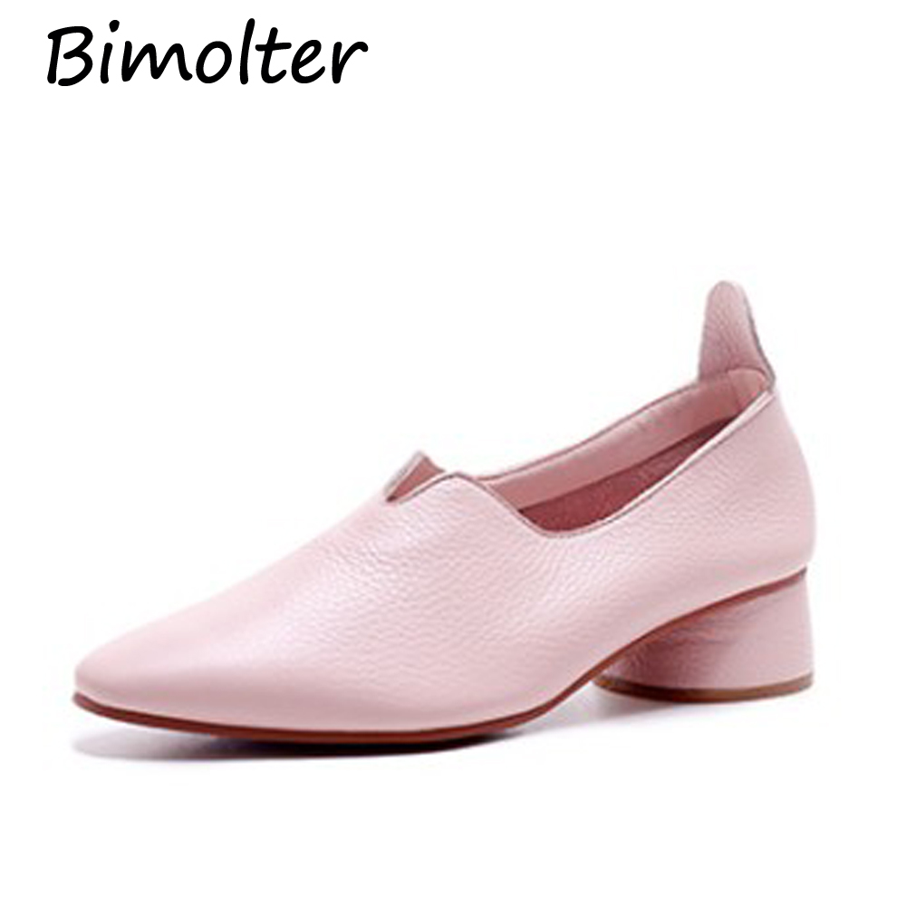 Bimolter Fashion Soft Sheepskin Shoes Women Blue Pink 4cm Round Heels - Women's Shoes