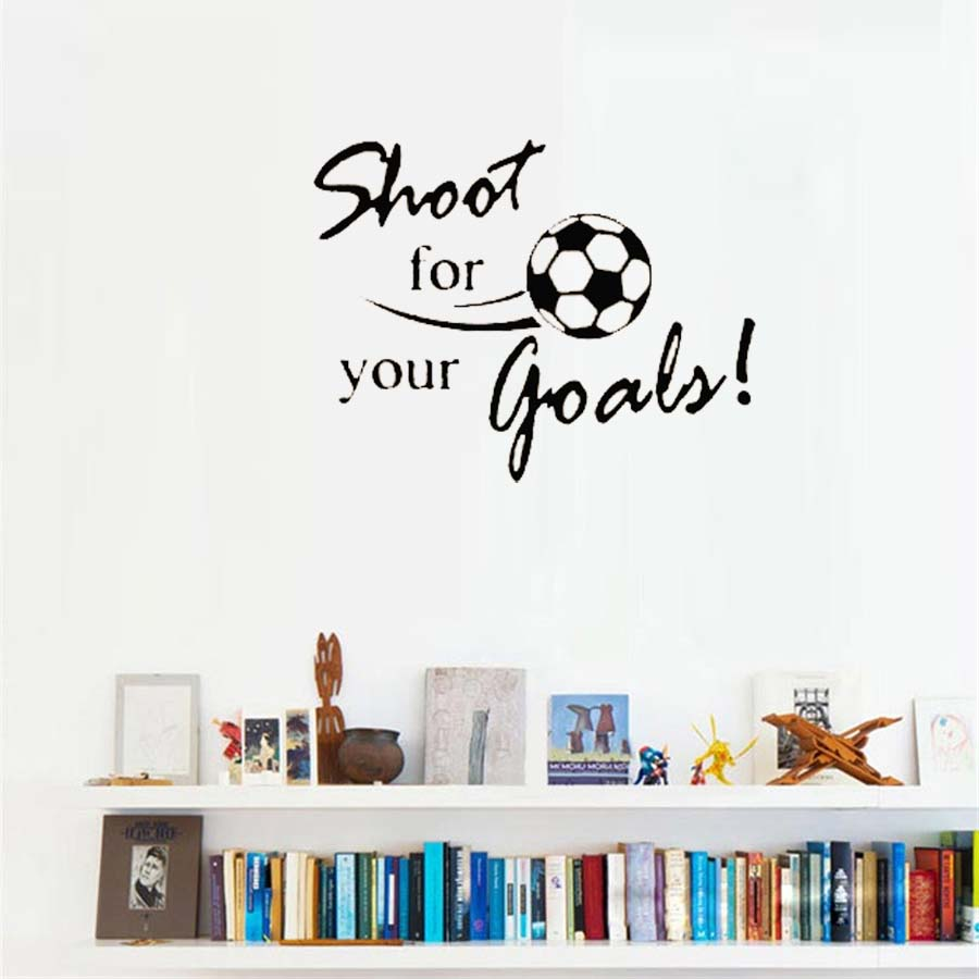 Shot For Your Goals Inspiring Letters Wall Sticker Big Football Pattren Wall  Decals For Kids Room Playroom Home Decorations