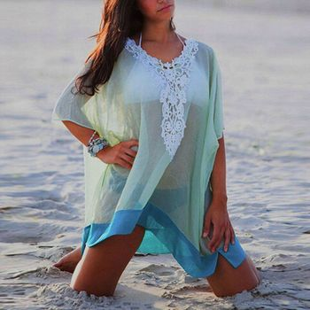 14d4219facf04 Women Swimwear Beachwear Bikini Beach Wear Cover Up Kaftan Sarong Shirt  Dress Pareo Beach Tunic Cover ups Capes Dress