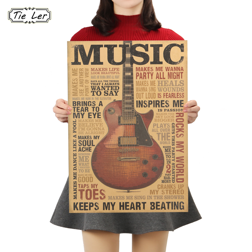 TIE LER Music Guitar A Style Poster Classic Nostalgic Vintage Kraft Paper Poster Bedroom Living Room Wall Sticker