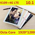 2017 Последним K109 4 Г LTE Android 6.0 10.1 дюймов tablet pc octa ядро 4 ГБ RAM 64 ГБ ROM 5MP IPS Таблетки Телефона 1920X1200 MT8752