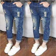 Boys Kids Clothes Summer Ripped Jeans for Girls Solid Children Denim Pants Elastic Waist Striped Casual calca denims feminina