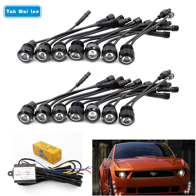 Tak Wai Lee 14Pcs/Set LED DRL Daytime Running Light Car Styling Eagle Eyes Trun Fog Lamp Relay Harness On/Off With Controller new arrival a pair 10w pure white 5630 3 smd led eagle eye lamp car back up daytime running fog light bulb 120lumen 18mm dc12v
