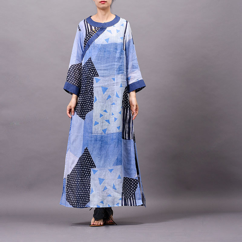 Ramie Women dress Summer cool New arrival Printed Buckle Embroidered speclic button personality vintage elelgant large size Robe - 2