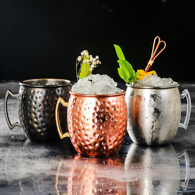 Ounces Hammered Copper Plated Moscow Mule Mug Beer Cup Coffee Black Rose Mugs