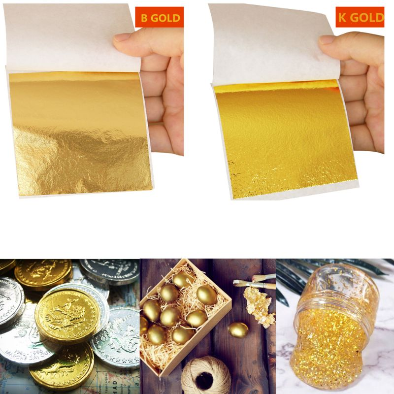 10Pcs K Gold Leaf Foil Paper For Arts Gilding Decorations Crafting Decor DIY