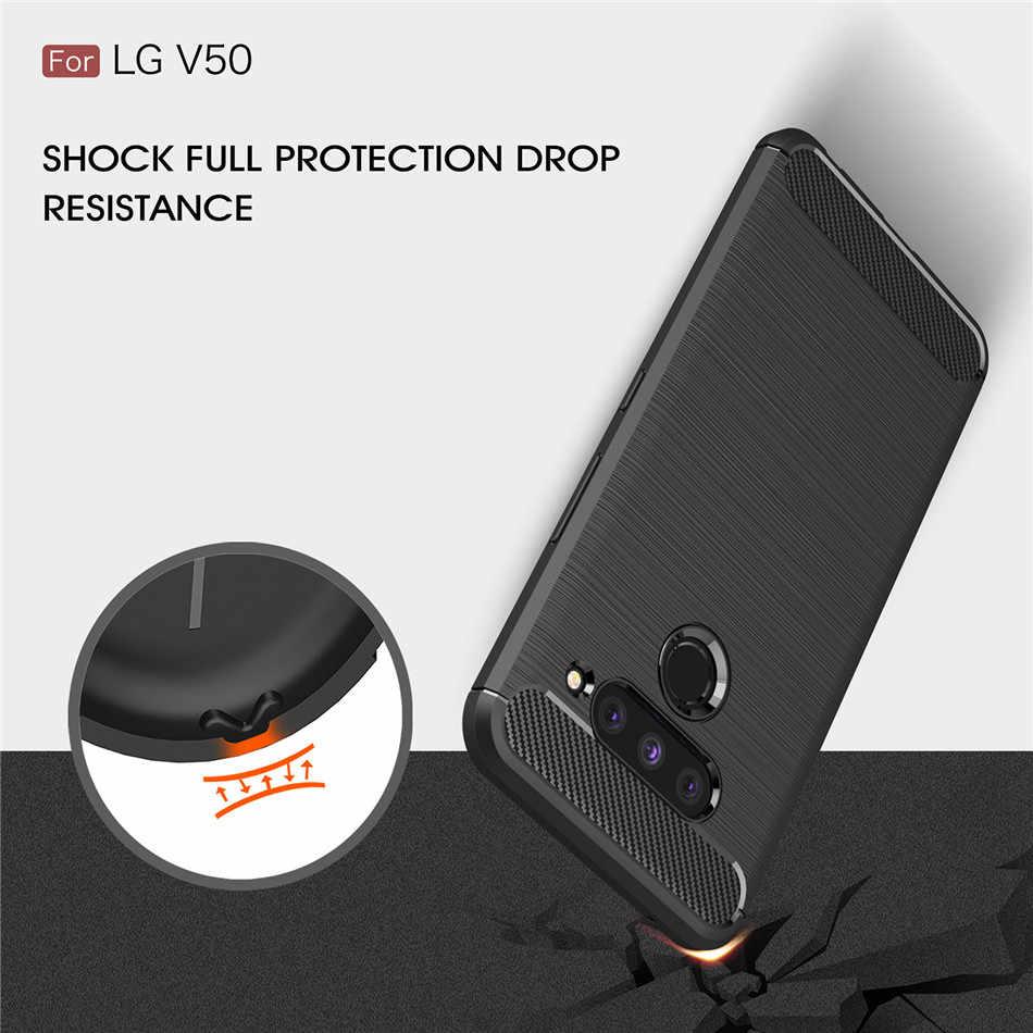 Silicone Case For LG V30S ThinQ V30 Plus V40 V50 ThinQ K40 ShockProof Fitted Carbon Fiber TPU Cover For LG V50 ThinQ Case K40