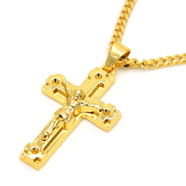 Gold color jesus cross pendants high quality fashion hiphop franco gold color jesus cross pendants high quality fashion hiphop franco long necklaces gold chain for men aloadofball