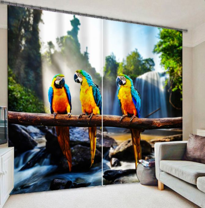 Three Parrots Animal Curtains 3D Photo Printing Blackout For Window Living Room Bedding Room Hote Office Sofa DecorationThree Parrots Animal Curtains 3D Photo Printing Blackout For Window Living Room Bedding Room Hote Office Sofa Decoration