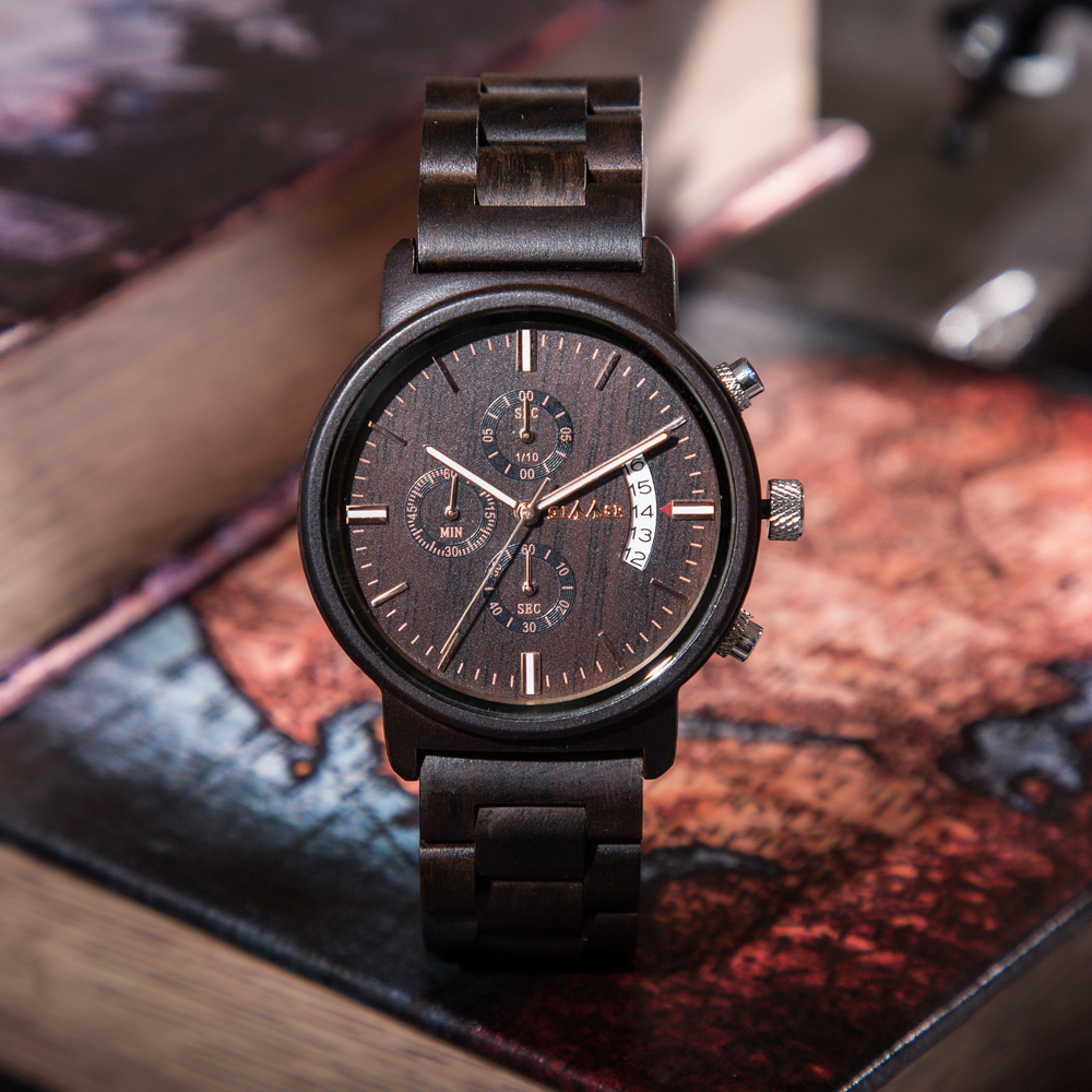 GIMSR Brand Unique <font><b>M13</b></font> Sub-dials Natural Wooden <font><b>Watch</b></font> Quartz Analog Movement Date Wristwatch Luxury Gifts for Men Wood <font><b>Watches</b></font> image