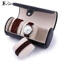 Cilíndrico PU caixa de jóias caixa de exibição de jóias organizador Watchs dust-proof box viagem carry portátil Recipiente Caixas