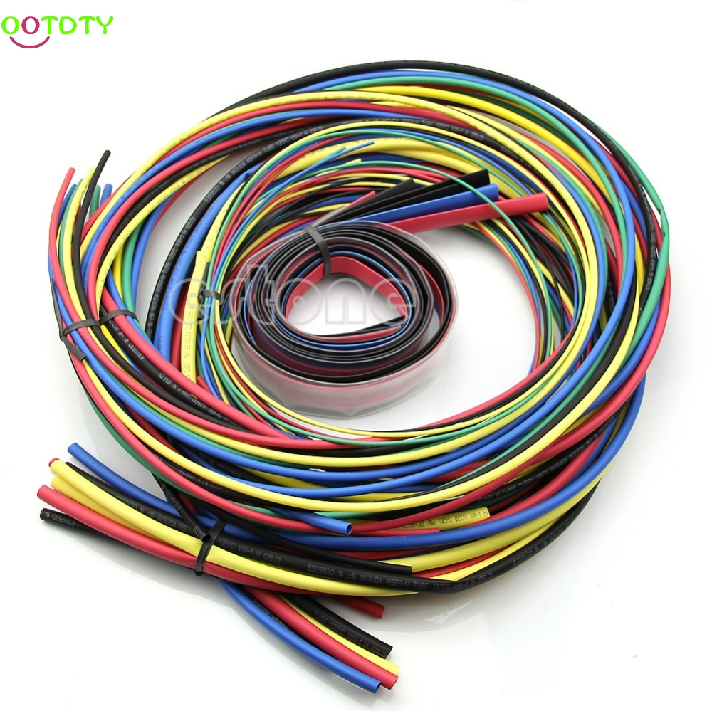 55M/Set Heat Shrink Tubing 11sizes 6 Colours Insulation Tube Sleeving Pack Heat Shrink Tube 828 Promotion 55m pack insulation polyolefin ratio 2 1 heat shrink tubing 11 sizes 6 colour shrinkable tube sleeving set