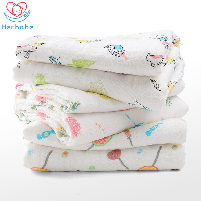Herbabe Baby Bath Towel 100% Cotton Muslin Blanket Super Absorbent Kids Swim Towel Infant Face Hair Towels Newborns Wash Cloths
