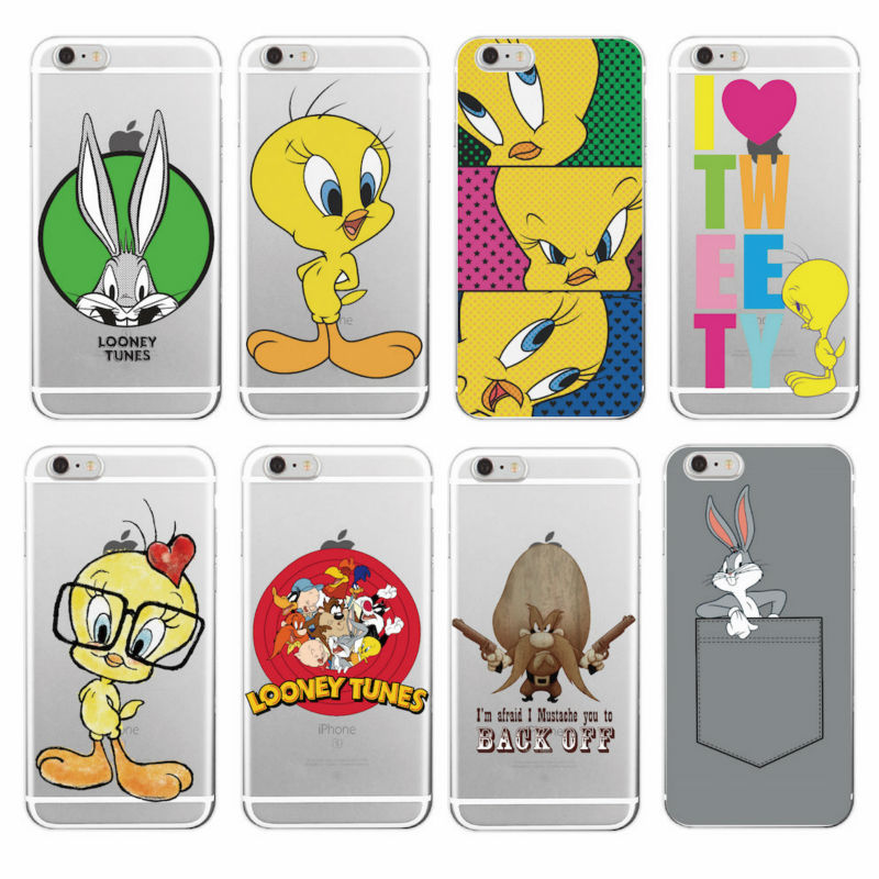 Для iPhone 7 Plus 7 6 плюс 6 S 5S 8 8 Plus x милые модные ошибки Bunny Tweety Твити птица Loony Tunes силиконовый чехол для телефона