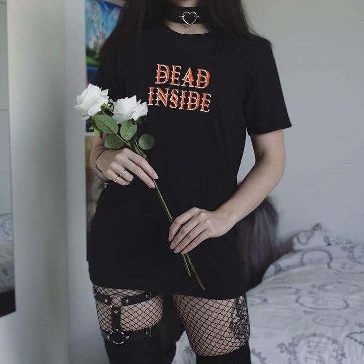 Kuakuayu hjn mulheres mortas dentro camiseta hipster grunge estilo preto t roupas góticas