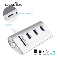 Rocketek USB HUB High Speed Aluminum 3 Port Uab Usb 3 0 Hubs Power Interfac With