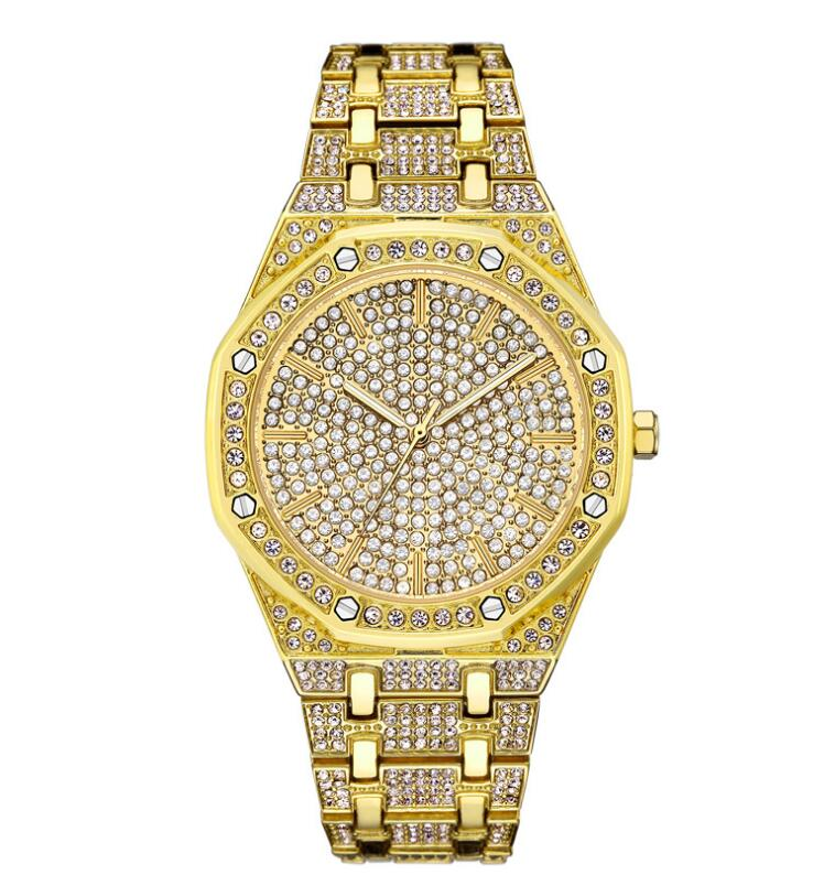 Men Watches Top Brand Luxury Iced Out Watch Gold Diamond Watch for Men Square Quartz Waterproof Wristwatch Relogio Masculino