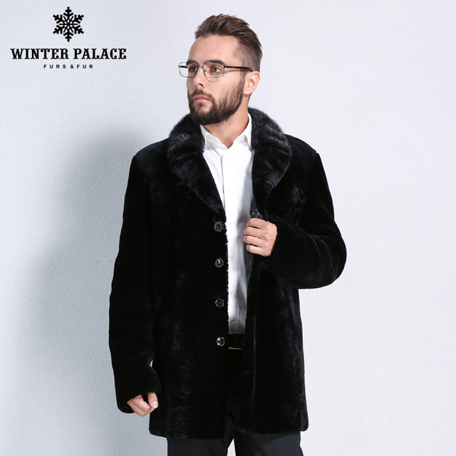 aba4a313fee48 Winter Men black leather mouton fur coat Turn-down Collar fur coat Imported  high-grade sheepskin coats Mature man symbol real