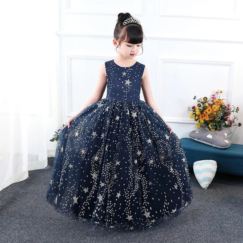 Star Girls Dresses Petals Elegant Pageant Formal Flower Girl Dress Blue Starry Sky Pattern Wedding Party Vestido Cloth for 5 13y