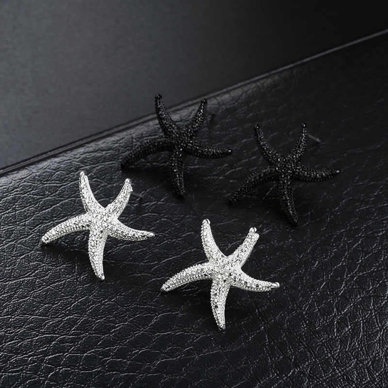 New Fashion Starfish Stud Earrings For Women Men Black Silver Color Cute Ear Jewelry Gift For Wedding Party Brincos