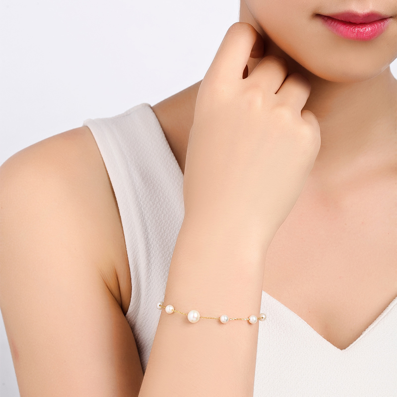 AINUOSHI 18K Yellow Gold Natural Cultured Freshwater Pearl Charm Bracelet Bangles Wedding Jewelry Women Gold Chain Link Bracelet-in Bracelets & Bangles from Jewelry & Accessories    2