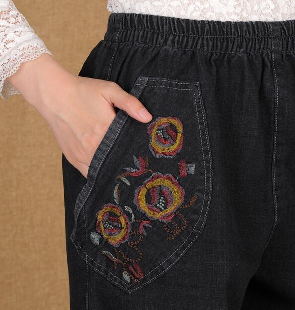 Nueva 2019 Suelto Caliente Vaqueros Mujeres Ancho Primavera Gran 5xl Alta Bordado Cintura Moda De Yardas L Negro Pantalones qYPIx4
