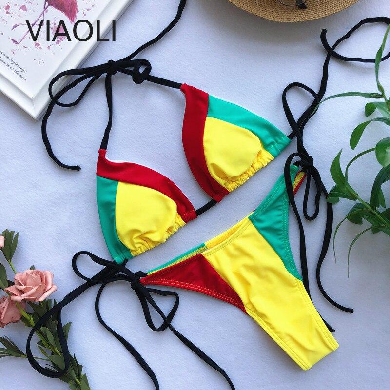 New Sexy Bikini Swimwear Female Tri-color Stitching European And American Rope Strap Bikini Swimsuit Thong  Two Piece Swimsuit
