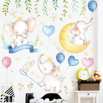 Cartoon Small Elephant Moon Stars Wall Stickers Bedroom Kids Baby room Background Wall Decor Removable Wall Decals Art Murals