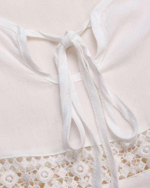 New Vestidos White Crochet Hollow Out Lace Mini Dress – Casual Loose V-neck Beachwear Plus Size