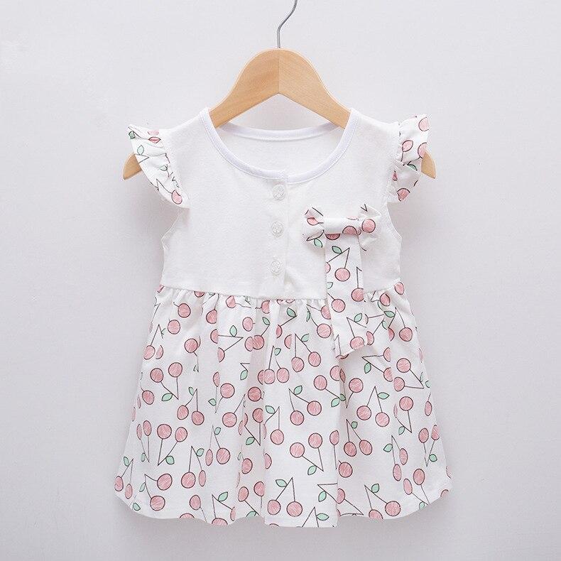 Cherry Baby Girls Sukienki Cotton Newborn Dress Toddler Babies stroje - Odzież dla niemowląt - Zdjęcie 4