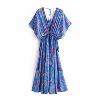 2019 Vintage Elegant Chic Dress Peacock Print Deep V Belt Fringe Long dress Bohemian Beach New Dress dress women