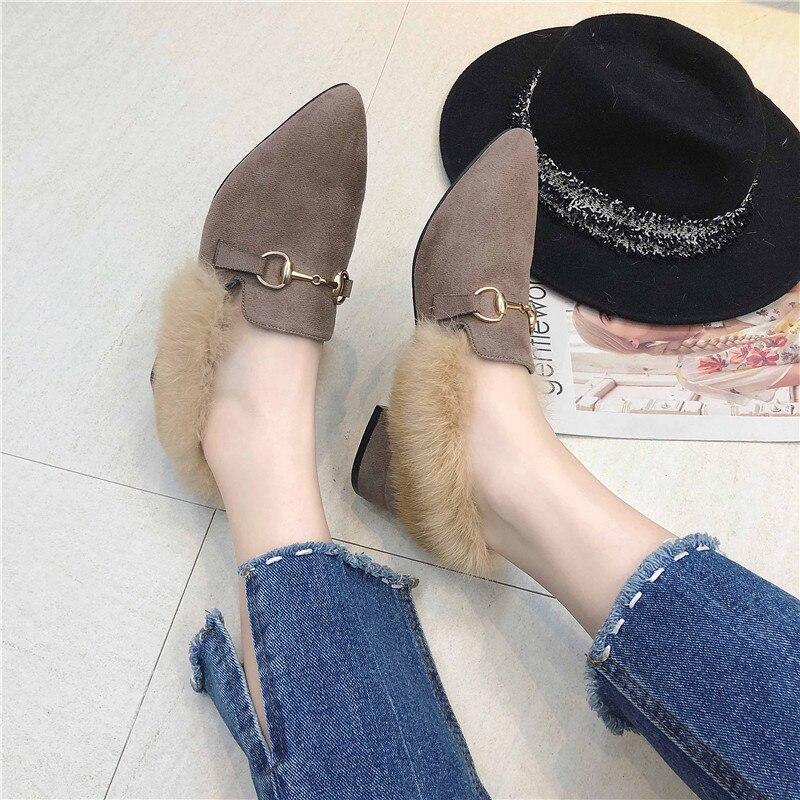 Para Tacón Hebilla Mujer Caqui Clásico Negro Estilo Invierno Zapatos Felpa  Metal Puntiaguda De Retro Cuadrado w0YxXqgARg dc56d3fbd8afd