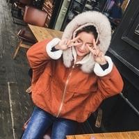 Lambswool Short Jacket 2017 New Winter Korean Loose Thick Plus Velvet Jacket Fox Fur Collar Solid