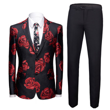 Mens Shiny RED Rose Print 2 Pieces Set Coat Pant Designs Red Floral Pattern Suits Stage Singer Wedding Groom Tuxedo Costume