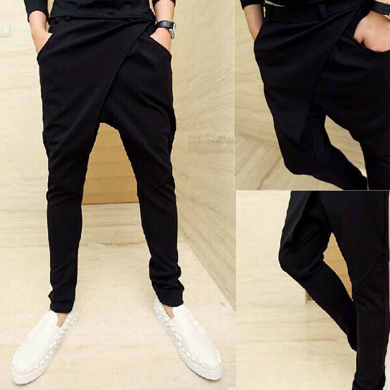 Punk Style Men`s Harem Pants Hip Hop Low Crotch Skinny Fit Black Fashion Night Club Hipster Trousers For Men